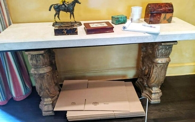 Baroque-Style Gilt Terracotta & Marble Console Table