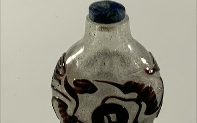 Chinese Peking Glass Snuff bottle, Bats and Coins