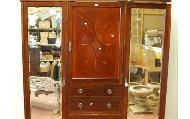 Edwardian mahogany and inlaid wardrobe, the arched projected...