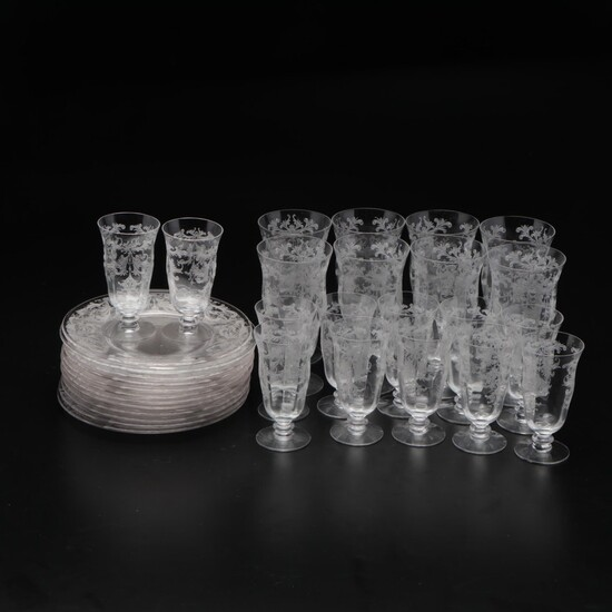 Etched Glass Goblets with Dessert Plates, Mid-20th Century