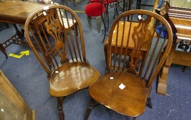 Four ash and elm Windsor type Dining Chairs, with pierced sp...
