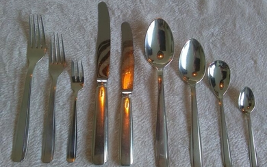 GERO - Silver plated cutlery set for 6 people (77) - Art Deco - Silverplate - Zilvium, 56 Nordique