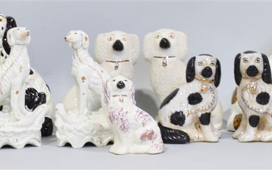 GROUP OF 14 STAFFORDSHIRE CERAMIC DOGS