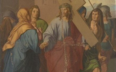 German School, late 19th Century- Christ carrying the cross; oil on canvas, 87.5 x 68.2 cm., (unframed).