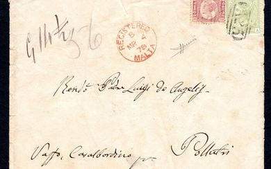 """Great Britain 1970/1977 - 4 p. sage green; 1/2 p. carmine red, on envelope from Malta """"A25"""" to Pollutri (Italy) - Unificato NN. 49; 59"""