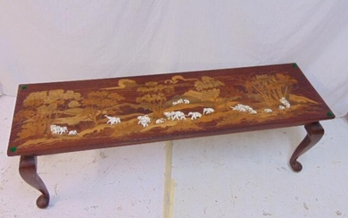 Inlaid Indian coffee table, rosewood inlaid with exotic