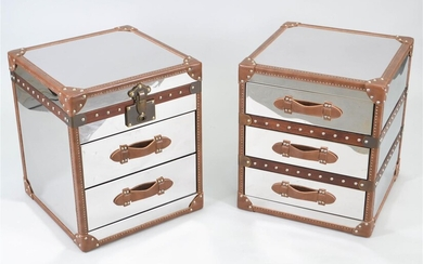 MATCHED PAIR OF CAMPAIGN STYLE METAL AND LEATHER END TABLES