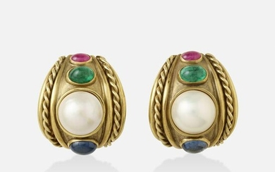 Mabe cultured pearl, multi-gem, and gold earrings
