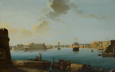 Malta, a view of the Fort St. Angelo and the Grand Harbor at Valletta, Neapolitan School, circa 1800