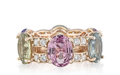Multi-Colored Sapphire and Diamond Eternity Band