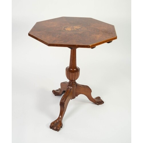 NINETEENTH CENTURY INLAID WALNUT OCCASIONAL TABLE, the octag...