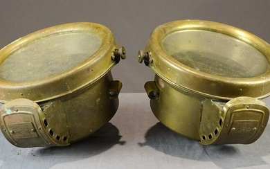 Pair of Brass Head Lamps