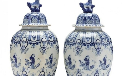 Pair of Delft Blue and White Covered Jars, Signed