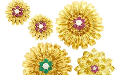 Pair of Gold, Gem-Set and Diamond Flower Clip-Brooches and Earclips and Tiffany & Co. Gold, Ruby and Diamond Flower Brooch