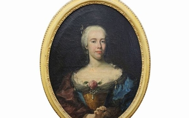 Portrait of a lady with rose and pearl pendants pinned to her dress, Pittore tedesco o austrico act. mid of 18th century