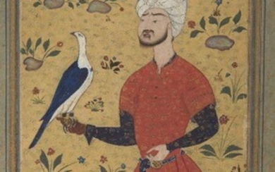 Property from an Important Private Collection A revival portrait of a falconer, Qajar Persia, 19th century or later, opaque pigments heightened with gold on paper, the margins with gold floral decoration, glued on cardboard, the painting 20 x...