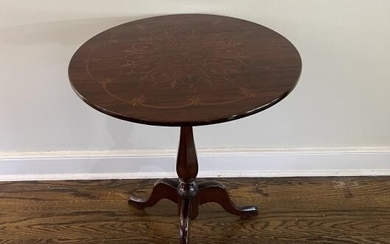 Queen Anne Style Marquetry Flip Top Pedestal Table.