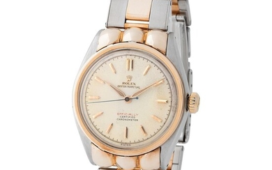 "Rolex. Sought after and Desired Water-Resistant Automatic Wristwatch in Steel and Pink Gold, Reference 5353, With Red ""Officially"" Dial"