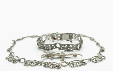 Silver jewellery, silver, metal and pyrite, 3 pieces