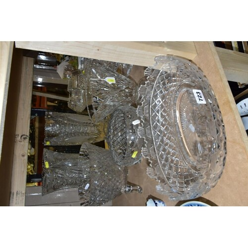 TEN PIECES OF CLEAR CUT GLASS, including a Waterford Crystal...