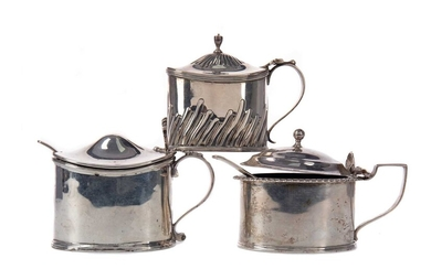 THREE LATE 19TH/EARLY 20TH CENTURY SILVER MUSTARD POTS
