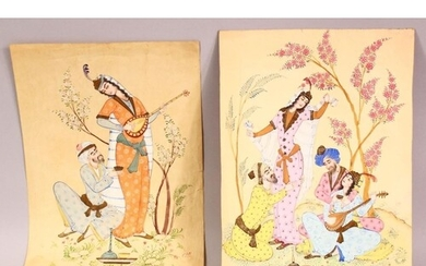 TWO EARLY 20TH CENTURY PERSIAN PAINTINGS, depicting females ...