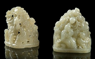 TWO PALE CELADON JADE CARVING OF SMALL BOULDERS LATE