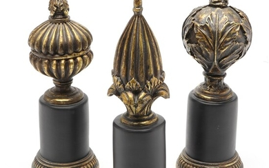 The Silky Way Gold and Black Tone Decorative Wood Finials