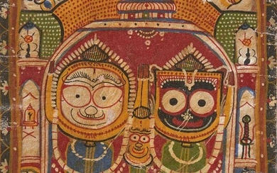 The triad of Jagannath-Subhadra -Balabhadra in the Puri temple, Puri, India, 20th century, Puri, 20th century, 37 x 29.5 cm Provenance: Private collection, Germany acquired in Puri, India in 1981