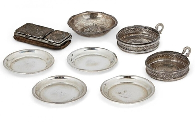 Three silver pin dishes, Chester, c.1909, Stokes & Ireland, together with a matching example by the same maker, London, c.1908, each engraved with initial and crown, 8cm dia., together with a small silver bowl with repousse flower centre; two...