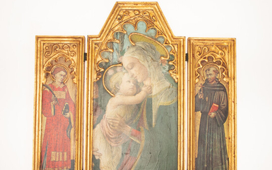 Triptych / holy image / altarpiece, Mother of God with child.