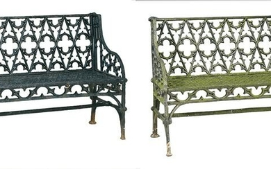 Two Gothic Revival Cast Iron Garden Benches