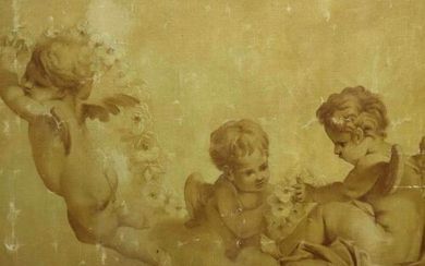 Unsigned 'Cupids with flower vines' oil on canvas 53,5 x...