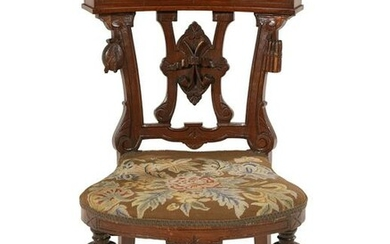 "Victorian Walnut ""Cock-Fighting"" or Gaming Chair"