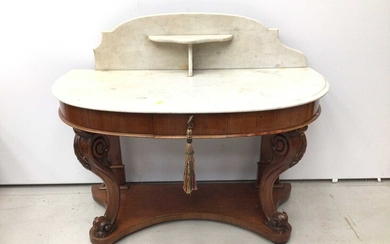 Victorian mahogany demi line washstand with marble top and splash back on carved cabriole front supports with shaped base, 112cm wide x 53cm deep x 94cm high