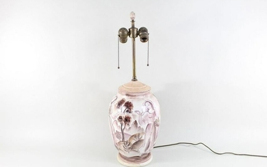 Vintage Hand-Painted White Ceramic Table Lamp 2 Lights
