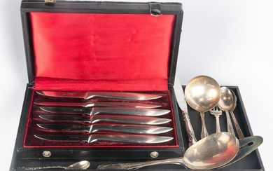 (lot of 14) Misc silver and silver plate flatware