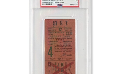 1920 World Series Game (7) ticket stub - Indians clinch to win their first Championship