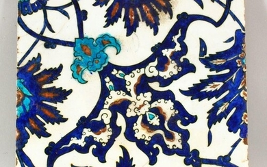 A 17TH CENTURY TURKISH OTTOMAN PORCELAIN TILE - decorated wi...