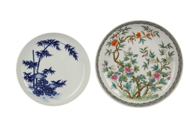 A CHINESE FAMILLE ROSE 'FLOWERS' DISH AND A BLUE AND WHITE 'BAMBOO' DISH.