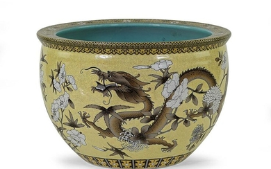 A Chinese Yellow Ground Porcelain Fish Bowl.