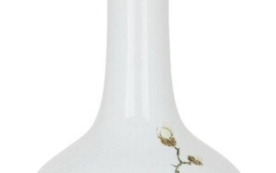 A Chinese porcelain famille rose bottle vase, Republic period, painted with a bird perched on a flowering peony branch, underglaze blue double circle mark to base, 29cm high