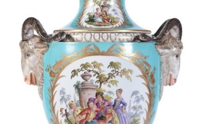 A Dresden pale-blue ground and gilt two-handled porcelain vase and cover