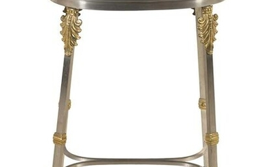 A French Steel and Brass Marble-Top Table in the Style