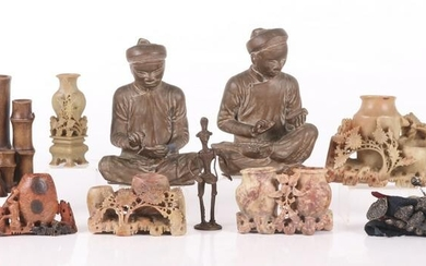 A Group of Asian Items, Soapstone, Bronze, Etc...
