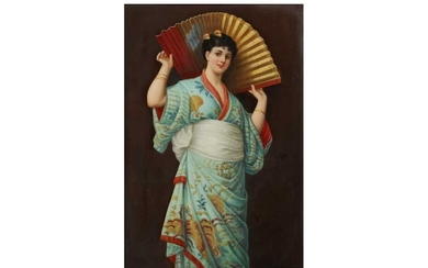 A LATE 19TH CENTURY BERLIN K.P.M. PORCELAIN PLAQUE DEPICTING A GIRL WITH A FAN