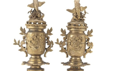 A PAIR OF JAPANESE BRONZE CENSERS EARLY 20TH CENTURY.