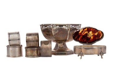 A SMALL SILVER QUARTEFOIL TRINKET BOX AND OTHERS