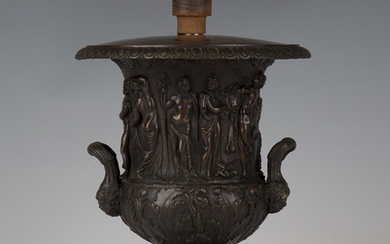 A late 19th century Continental brown patinated cast bronze classical twin-handled urn, converted to