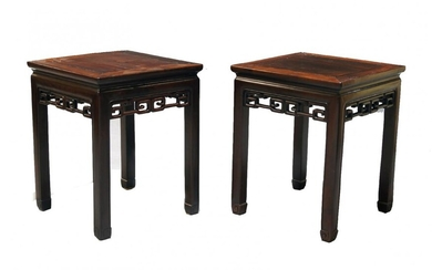 A pair of Chinese hardwood occasional tables, Daoguang period, the...